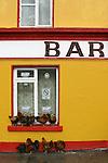 Coqs s'abritant de la pluie devant un pub. Ïle d'Inishmore. Iles d'Aran. Irlande.Roosters in front of a pub. Inishmore Island. Aran Islands. Eire