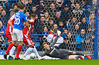 Jack Bonham of Gillingham gets down well to save during Portsmouth vs Gillingham, Sky Bet EFL League 1 Football at Fratton Park on 12th October 2019