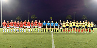 Lakewood Ranch, FL - Wednesday, October 10, 2018:   USWNT Starting XI, Referees, Colombia Starting XI during a U-17 USWNT match against Colombia.  The U-17 USWNT defeated Colombia 4-1.