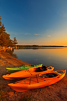 Kayaks on Lake Mindemoya, Manitoulin Island, Ontario, Canada
