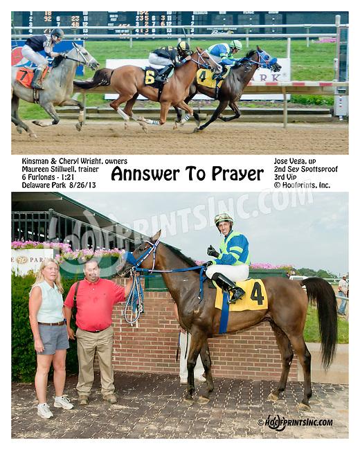 Annswer to Prayer winning at Delaware Park on 8/26/2013