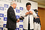 Koji Yamamoto head coach (JPN), OCTOBER 10, 2012 - Baseball : WBC Japanese Baseball team head coach Koji Yamamoto attends his first news conference in Tokyo, Japan. Koji Yamamoto was appointed Japanese head coach for World Baseball Classic games. (Photo by Yusuke Nakanishi/AFLO SORT) [1090]