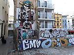 Valencia-Spain, January 13, 2018; <br /> street art / graffiti by i.a David de Limón (Limon); <br /> Photo © HorstWagner.eu