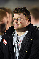 A bloodied and bruised Kyle Traynor of Gloucester United looks on after the final whistle. Premiership Rugby Shield match, between Bath United and Gloucester United on April 8, 2019 at the Recreation Ground in Bath, England. Photo by: Patrick Khachfe / Onside Images