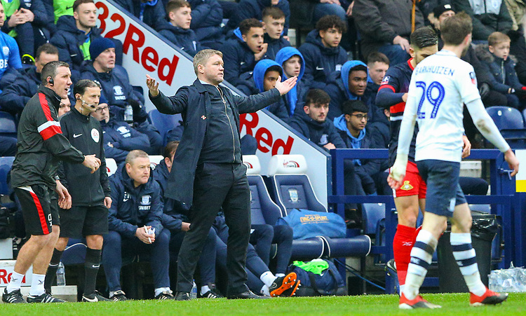 Doncaster Rovers manager Grant McCann shows his frustration <br /> <br /> Photographer Alex Dodd/CameraSport<br /> <br /> The Emirates FA Cup Third Round - Preston North End v Doncaster Rovers - Sunday 6th January 2019 - Deepdale Stadium - Preston<br />  <br /> World Copyright &copy; 2019 CameraSport. All rights reserved. 43 Linden Ave. Countesthorpe. Leicester. England. LE8 5PG - Tel: +44 (0) 116 277 4147 - admin@camerasport.com - www.camerasport.com