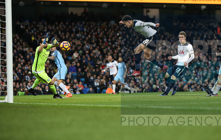 Dele Alli of Tottenham Hotspur scores during the Premier League match at Etihad Stadium, Manchester. Picture date: January 21st, 2017.Photo credit should read: Lynne Cameron/Sportimage