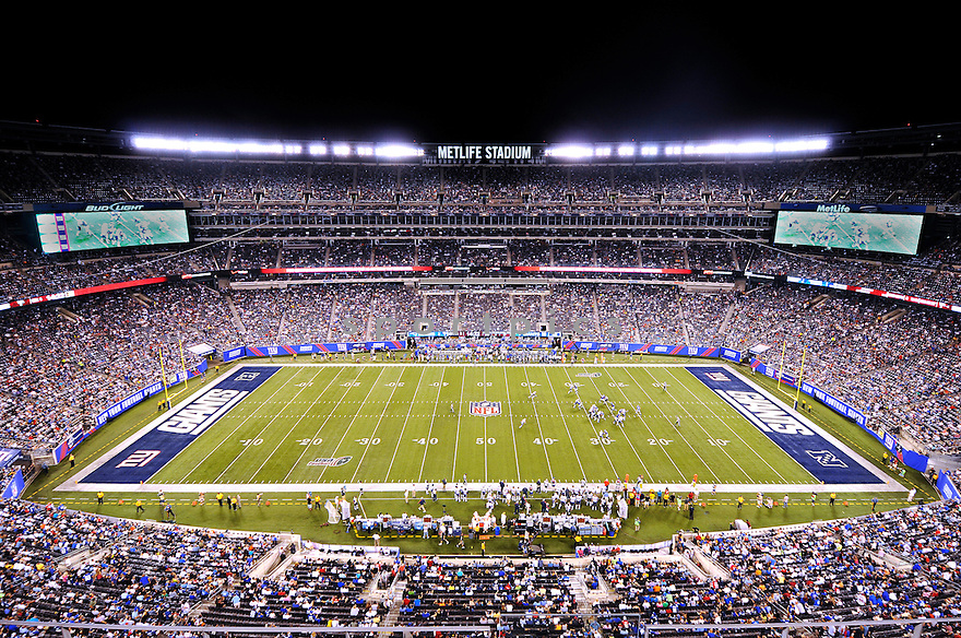 An overall view of MetLife Stadium in New York,  during a game between the New York Giants and the New England Patriots on August 30, 2012. (AP Photo/Chris Bernacchi)