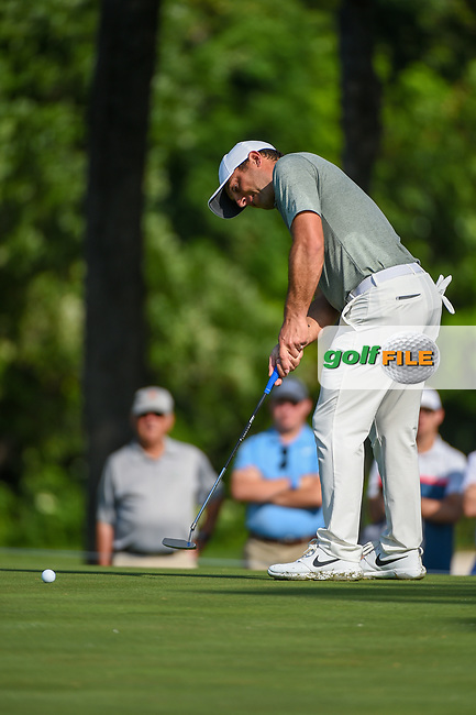 Francesco Molinari (ITA) sinks his long birdie putt on 2 during round 3 of the 2019 Charles Schwab Challenge, Colonial Country Club, Ft. Worth, Texas,  USA. 5/25/2019.<br /> Picture: Golffile   Ken Murray<br /> <br /> All photo usage must carry mandatory copyright credit (© Golffile   Ken Murray)