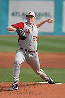Pitcher Drew Leininger #24 of the University of Indiana Hoosiers on the mound during a game against the Virginia Tech Hokies at Watson Stadium at Vrooman Field in Conway, South Carolina on February 18, 2011. Photo by Robert Gurganus/Four Seam Images