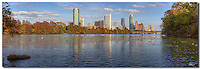 From Lou Neff Point, this Austin panorama image is a stitch of several images to give you a great view of Lady Bird Lake and the Austin Skyline. This Austin photo was taken in the late afternoon on a beautiful late afternoon in November. Ducks and Swans were enjoying the waters, as were kayakers and other locals. In the distance, the Frost Bank Tower and the Austonian rise in the distance as two of Austin's more notable icons.