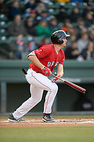 First baseman Triston Casas (38) of the Greenville Drive bats in a game against the Rome Braves on Saturday, April 20, 2019, at Fluor Field at the West End in Greenville, South Carolina. Rome won, 5-4. (Tom Priddy/Four Seam Images)