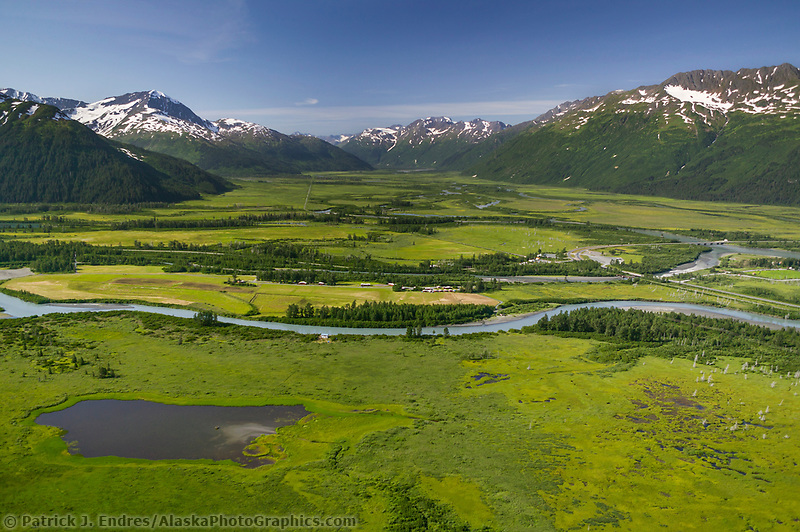 Portage Creek, which flows out of Portage lake through the Portage Valley and into the Turnagain Arm, Alaska
