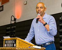Carolyn Deanne Adams Memorial Award, Joseph Gonzalez<br /> The Occidental College Human Resources Department hosts Employee Recognition Day on Thursday, May 23, 2019 in Rush Gym. Distinguished service awards were presented for service and excellence, in addition to annual recognition for yearly milestones.<br /> <br /> (Photo by Don Milici, Freelance)
