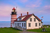 Lubec, Maine: West Quoddy Head Light at dusk