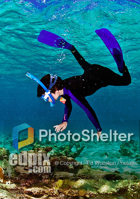 14 August 2009: Josh Wolfstein snorkels at Captain Don's Habitat on the island of Bonaire, in the Netherlands Antilles. Mandatory Credit: Ed Wolfstein Photo