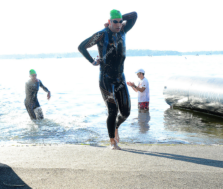 Madison's Luke Lengfeld is the first out of the water in 50.41 minutes, to start the 2015 Ironman competition on Sunday, September 13, 2015 in Madison, Wisconsin