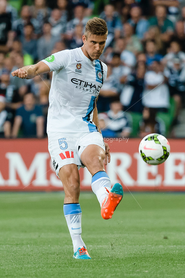 Erik PAARTALU of Melbourne City kicks the ball in round 11 A-League match between Melbourne City and Melbourne Victory at AAMI Park in Melbourne, Australia during the 2014/2015 Australian A-League season. City def Victory 1-0