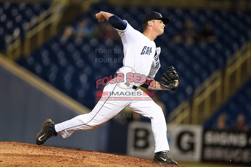 Lake County Captains pitcher Robbie Aviles (11) delivers a pitch during a game against the Fort Wayne TinCaps on August 21, 2014 at Classic Park in Eastlake, Ohio.  Lake County defeated Fort Wayne 7-8.  (Mike Janes/Four Seam Images)
