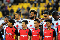 Fiji players line up for the national anthems before the 2017 Rugby League World Cup quarterfinal match between New Zealand Kiwis and Fiji at Wellington Regional Stadium in Wellington, New Zealand on Saturday, 18 November 2017. Photo: Mike Moran / lintottphoto.co.nz