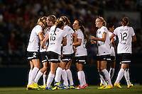 Portland Thorns midfielder Tobin Heath (17) celebrates scoring with teammates  during the first half against the Western New York Flash during the National Women's Soccer League (NWSL) finals at Sahlen's Stadium in Rochester, NY, on August 31, 2013.
