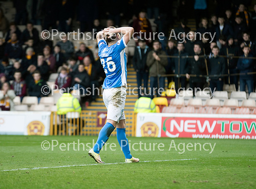 Motherwell v St Johnstone…18.03.17     SPFL    Fir Park<br />LIam Craig reacts after missing a chance for his hat trick<br />Picture by Graeme Hart.<br />Copyright Perthshire Picture Agency<br />Tel: 01738 623350  Mobile: 07990 594431