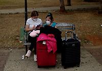 HAVANA, CUBA - March 12:  People wear face mask outside of  the International airport José Martí in Havana, Cuba, Thursday, March 12, 2020,  The World Health Organization declared a global pandemic as the coronavirus rapidly spreads across the world.(Photo by Eliana Aponte/VIEWpress)