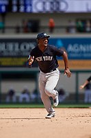 New York Yankees third baseman Miguel Andujar (41) runs the bases during a Grapefruit League Spring Training game against the Detroit Tigers on February 27, 2019 at Publix Field at Joker Marchant Stadium in Lakeland, Florida.  Yankees defeated the Tigers 10-4 as the game was called after the sixth inning due to rain.  (Mike Janes/Four Seam Images)