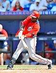 28 February 2011: Washington Nationals' outfielder Roger Bernadina in action during a Spring Training game against the New York Mets at Digital Domain Park in Port St. Lucie, Florida. The Nationals defeated the Mets 9-3 in Grapefruit League action. Mandatory Credit: Ed Wolfstein Photo