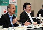 "September 11, 2017, Tokyo, Japan - World's largest travel site operator TripAdvisor president Stephen Kaupher (L) speaks while Japane Airlines (JAL) president Yoshiharu Ueki (R) looks on at the JAL headquarters in Tokyo on Monday, September 11, 2017. TripAdvisor and JAL announced a strategic partnership and JAL will launch a website of ""Untold Stories of Japan"" on the TripAdvisor website from October for the promotion of tourism in Japan. (Photo by Yoshio Tsunoda/AFLO) LWX -ytd-"