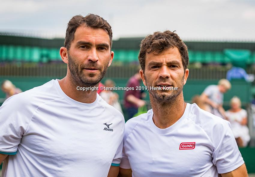 London, England, 8 July, 2019, Tennis,  Wimbledon, Men's doubles Jean-Julian Rojer (NED) and Horia Tecau (ROU) (L)<br /> Photo: Henk Koster/tennisimages.com