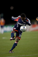 New England Revolution midfielder Sainey Nyassi (31) scored a goal in his first game with the Revolution. The New England Revolution defeated the Houston Dynamo 3-0 in their Major League Soccer home opener at Gillette Stadium in Foxborough, Massachusetts on March 29, 2008.