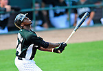 16 March 2009: Florida Marlins' outfielder Cameron Maybin in action during a Spring Training game against the Washington Nationals at Roger Dean Stadium in Jupiter, Florida. The Nationals defeated the Marlins 3-1 in the Grapefruit League matchup. Mandatory Photo Credit: Ed Wolfstein Photo