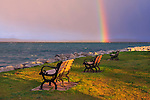 Benches and a Rainbow Over Traverse Bay Early on a Stormy Morning at Elk Rapids, Michigan, USA