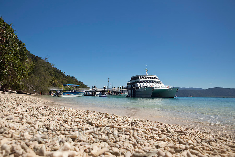 View along coral beach to jetty.  Fitzroy Island National Park, Cairns, Queensland, Austtralia