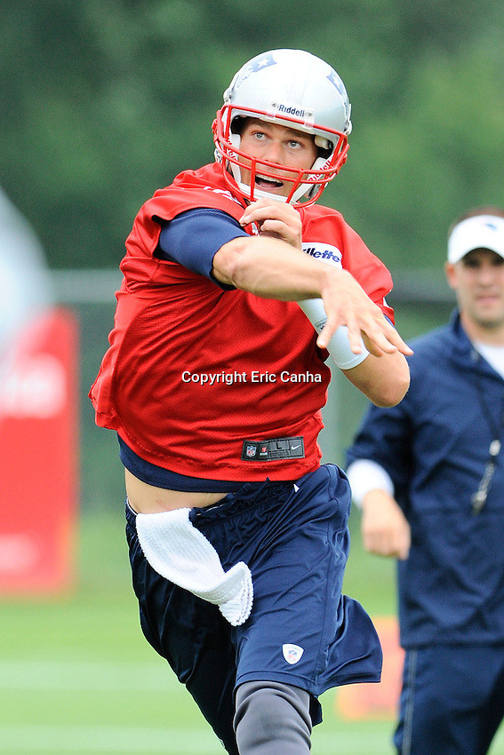 New England Patriots quarterback Tom Brady (12) throws a pass during the New England Patriots mini camp at Gillette Stadium in Foxborough Massachusetts.   Eric Canha/CSM