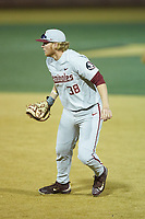 Florida State Seminoles first baseman Rhett Aplin (38) on defense against the Wake Forest Demon Deacons at David F. Couch Ballpark on March 9, 2018 in  Winston-Salem, North Carolina.  The Seminoles defeated the Demon Deacons 7-3.  (Brian Westerholt/Four Seam Images)