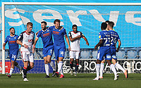 Colchester United's Tom Eastman celebrates scoring his side's first goal with Tommy Smith<br /> <br /> Photographer Rob Newell/CameraSport<br /> <br /> The EFL Sky Bet League Two - Colchester United v Bolton Wanderers - Saturday 19th September 2020 - Colchester Community Stadium - Colchester<br /> <br /> World Copyright © 2020 CameraSport. All rights reserved. 43 Linden Ave. Countesthorpe. Leicester. England. LE8 5PG - Tel: +44 (0) 116 277 4147 - admin@camerasport.com - www.camerasport.com