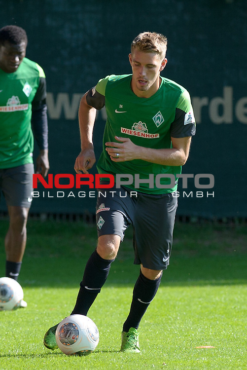 24.08.2013, Trainingsgelaende, Bremen, GER, 1.FBL, Training Werder Bremen, im Bild Nils Petersen (Bremen #24)<br /> <br /> Foto &copy; nph / Frisch