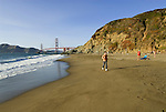 San Francisco: Baker Beach with Golden Gate Bridge in background.  Photo # 2-casanf83793.  Photo copyright Lee Foster