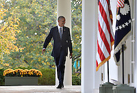 United States President Barack Obama walks out of the Oval Office to make remarks on Republican President-elect Donald J. Trump's presidential victory over Former Secretary of State Hillary Clinton, at the White House, November 9, 2016, in Washington, DC. Obama invited Trump to visit the White House and promised a smooth transition.       <br /> Credit: Mike Theiler / Pool via CNP /MediaPunch