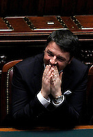 Il Presidente del Consiglio Matteo Renzi durante la cerimonia del giuramento del nuovo Presidente Sergio Mattarella alla Camera dei Deputati, Roma, 3 febbraio 2015.<br /> Italian Premier Matteo Renzi attends the newly elected President Sergio Mattarella's swearing ceremony at the Lower Chamber in Rome, 3 February 2015.<br /> UPDATE IMAGES PRESS/Isabella Bonotto