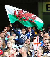 A young Wales fan waves a Welsh flag<br /> <br /> Australia Vs Wales - Men's quarter-final<br /> <br /> Photographer Chris Vaughan/CameraSport<br /> <br /> 20th Commonwealth Games - Day 4 - Sunday 27th July 2014 - Rugby Sevens - Ibrox Stadium - Glasgow - UK<br /> <br /> © CameraSport - 43 Linden Ave. Countesthorpe. Leicester. England. LE8 5PG - Tel: +44 (0) 116 277 4147 - admin@camerasport.com - www.camerasport.com