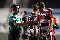 Picture by Paul Greenwood/SWpix.com - 27/04/2018 - Rugby League - Betfred Super League - Widnes Vikings v Wigan Warriors - Select Security Stadium, Widnes, England - Referee Ben Thaler speaks with Dan Sarginson of Wigan Warriors
