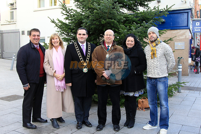 Egidio Magliocco (Malta Services), Ann Tracey (Gary Kelly Centre), Mayor Kevin Callan, Darius Messayeh (Rotary Club), Nicola Kearns (Malta Services) and Gary Kelly during the Rotary Tree Launch at St. Peter's Plaza, West St, Drogheda on Monday 8th December 2014.<br /> Picture:  Thos Caffrey / www.newsfile.ie
