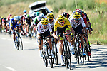 The peloton including Yellow Jersey Chris Froome (GBR) Team Sky in action during Stage 16 of the 104th edition of the Tour de France 2017, running 165km from Le Puy-en-Velay to Romans-sur-Isere, France. 18th July 2017.<br /> Picture: ASO/Alex Broadway | Cyclefile<br /> <br /> <br /> All photos usage must carry mandatory copyright credit (&copy; Cyclefile | ASO/Alex Broadway)
