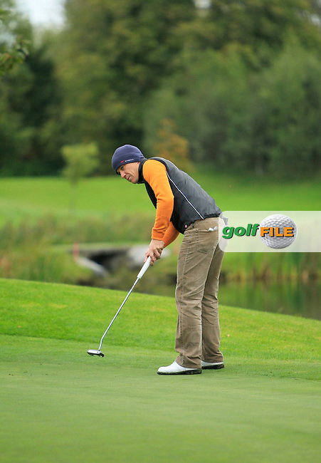 Jussi Pitkanen(Dave Pelz Scoring Game School) on the 14th green during Round 4 of The Cassidy Golf 103rd Irish PGA Championship in Roganstown Golf Club on Sunday 13th October 2013.<br /> Picture:  Thos Caffrey / www.golffile.ie