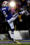 8 October 2007:  Buffalo Bills punter Brian Moorman practices a kick prior to the start of play against the Dallas Cowboys at Ralph Wilson Stadium in Buffalo, New York. The Cowboys defeated the Bills 25-24...Mandatory Photo Credit: Ed Wolfstein Photo