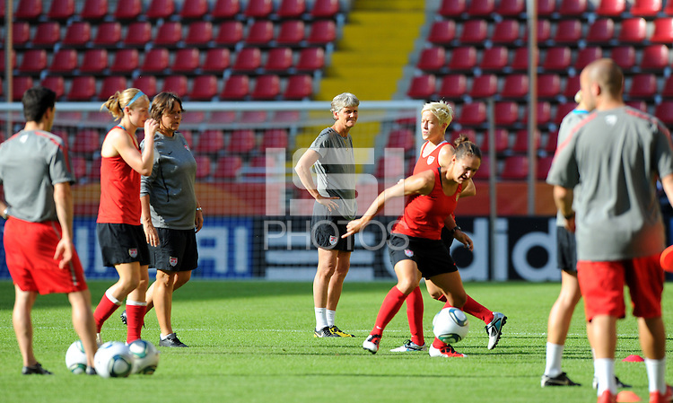 Pia Sundhage (C), coach of team USA, during a training session at the FIFA Women's World Cup at the FIFA Stadium in Dresden, Germany on June 27th, 2011.