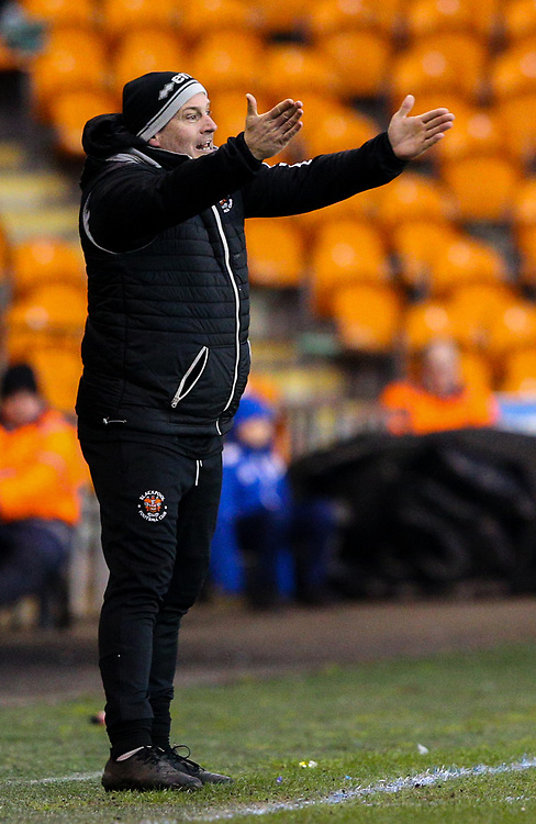 Blackpool's assistant manager Gary Brabin shouts instructions to his team from the technical area<br /> <br /> Photographer Alex Dodd/CameraSport<br /> <br /> The EFL Sky Bet League One - Blackpool v Shrewsbury Town - Saturday 19 January 2019 - Bloomfield Road - Blackpool<br /> <br /> World Copyright © 2019 CameraSport. All rights reserved. 43 Linden Ave. Countesthorpe. Leicester. England. LE8 5PG - Tel: +44 (0) 116 277 4147 - admin@camerasport.com - www.camerasport.com