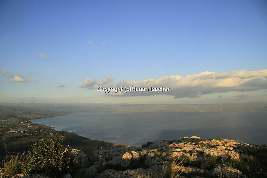 Israel, Lower Galilee, Arbel cliff overlooking Migdal and the Sea of Galilee